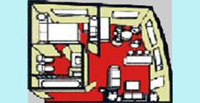 维多利亚凯娅号游轮行政套房平面图