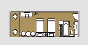 长江二号游轮阳台标准间平面图
