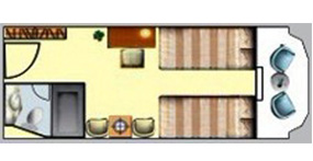 长江一号游轮阳台标准间平面图