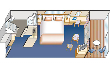 蓝宝石公主号邮轮阳台房平面图