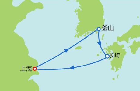 海洋量子号邮轮皇家海洋量子号天津-日本福冈-天津5天4晚航行图