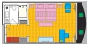 黄金八号游轮行政标准房平面图