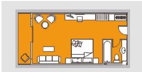 黄金六号游轮行政标准房平面图