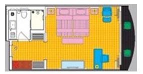 长江黄金七号游轮行政大床房平面图