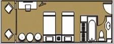 华夏神女2号游轮行政标准间平面图