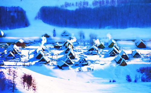 新疆童话冰雪世界-喀纳斯-水墨禾木、雪地越野摩托车纯玩双飞5日游2018冰雪季 喀纳斯听雪