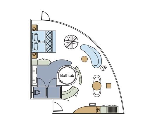 世纪荣耀号游轮总统套房平面图