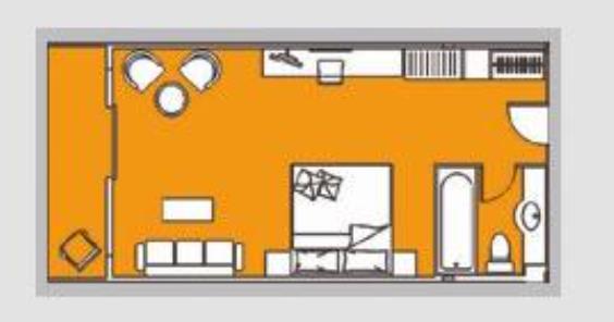 黄金八号游轮外弦阳台房平面图